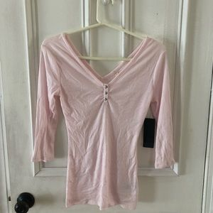 Guess gorgeous pink Henley top size s new with tag